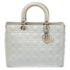 Dior White Cannage Leather Large Lady Dior Tote