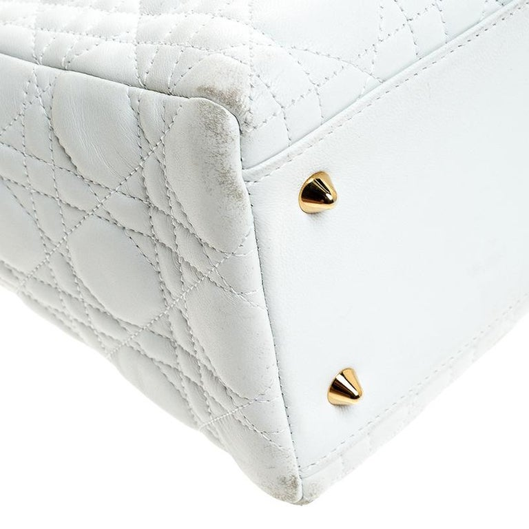 Dior White Cannage Quilted Leather Medium Lady Dior Tote For Sale 7
