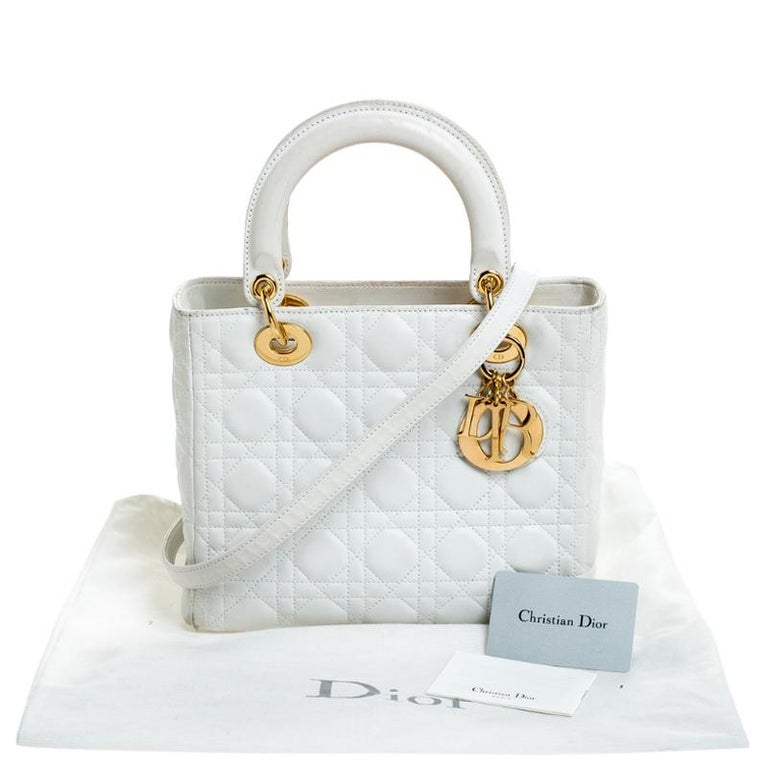Dior White Cannage Quilted Leather Medium Lady Dior Tote For Sale 8