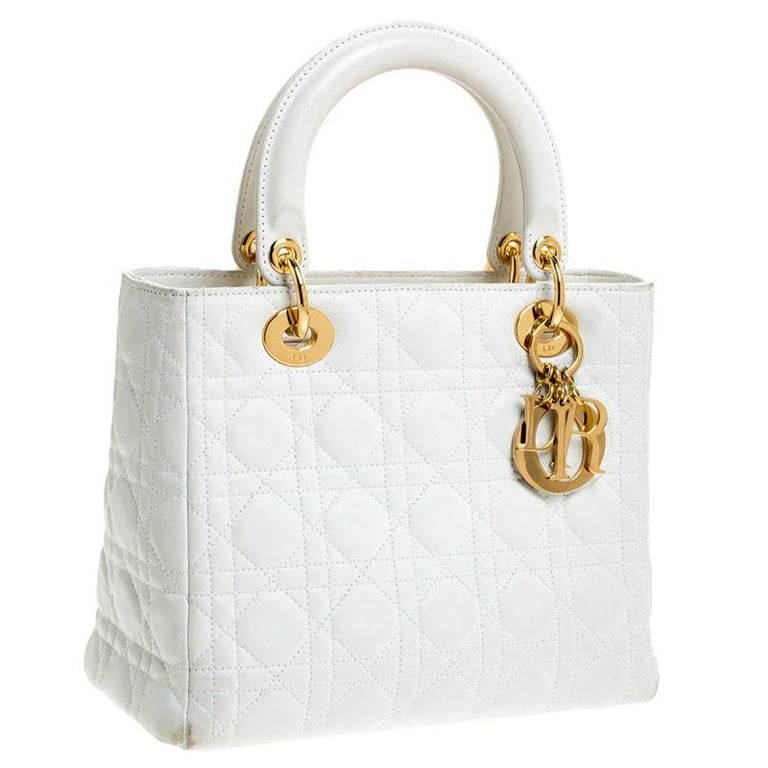 Dior White Cannage Quilted Leather Medium Lady Dior Tote In Good Condition For Sale In Dubai, Al Qouz 2