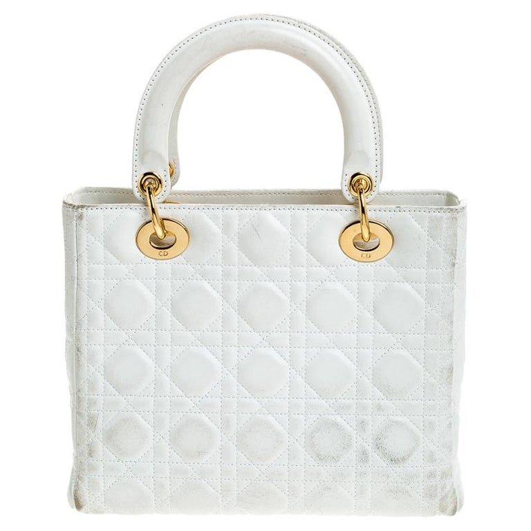 Dior White Cannage Quilted Leather Medium Lady Dior Tote For Sale 3