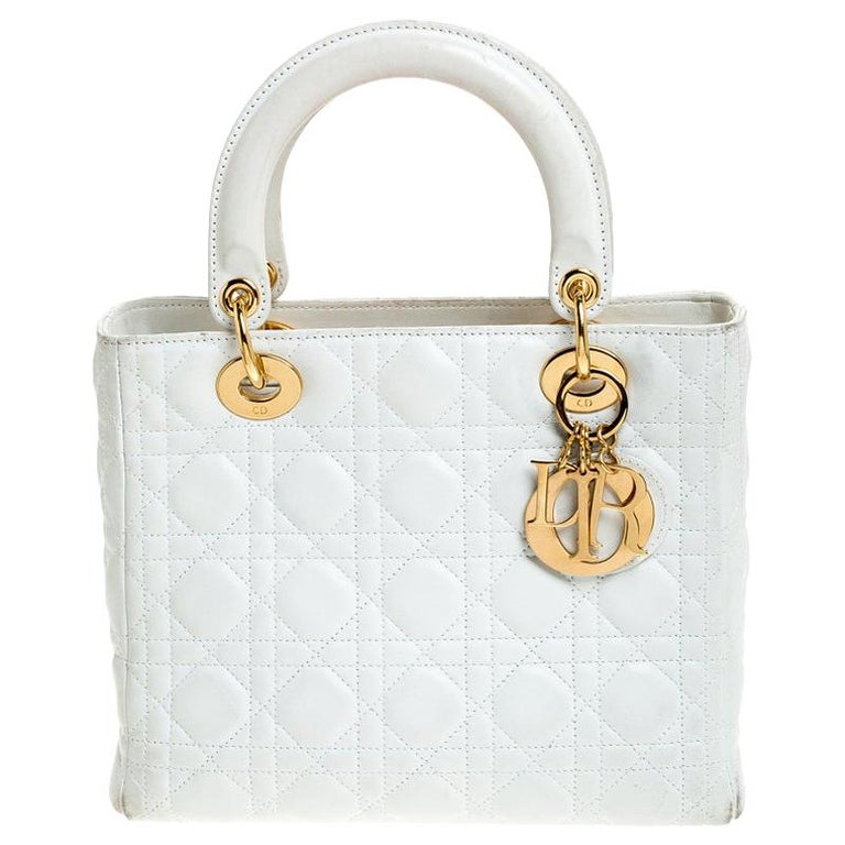 Dior White Cannage Quilted Leather Medium Lady Dior Tote For Sale