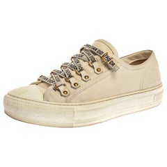 Dior White Canvas Walk'n'Dior Lace Up Sneakers Size 38