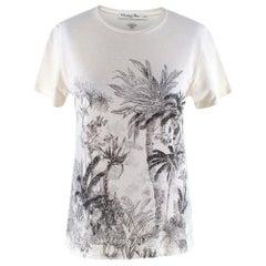 Dior White Cotton & Linen T-Shirt with Navy Blue Toile de Jouy Tropica XS