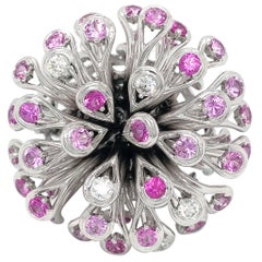 Dior White Gold Feu D'artifice 18 Karat Diamond and Pink Sapphire Cocktail Ring
