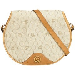 Dior White Honeycomb Coated Canvas Crossbody Bag
