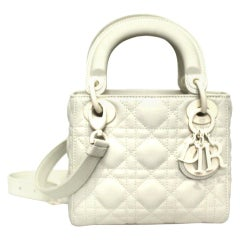 Dior White Leather Lady Bag