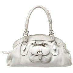 Dior White Leather Large My Dior Frame Satchel Bag