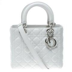 Dior White Leather Medium Lady Dior Tote