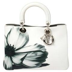 Dior White Leather Medium Secret Garden Diorissimo Tote