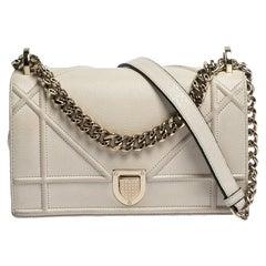 Dior White Leather Small Diorama Shoulder Bag