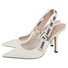 Dior White Patent Leather J'adior Slingback Pumps Size 39