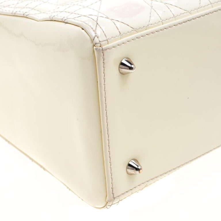 Dior White Patent Leather Medium Lady Dior Tote 6