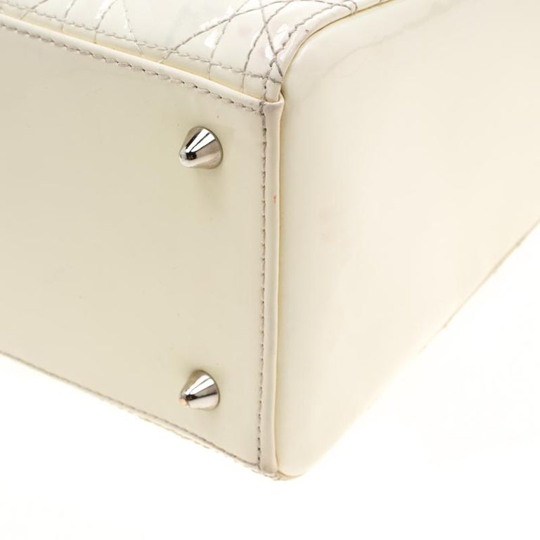 Dior White Patent Leather Medium Lady Dior Tote 7
