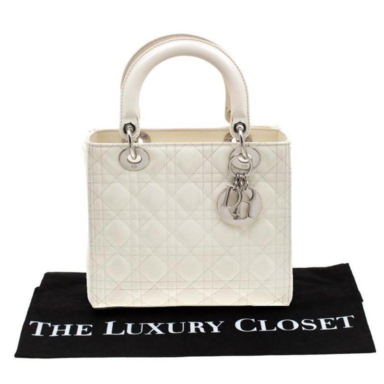 Dior White Patent Leather Medium Lady Dior Tote 8