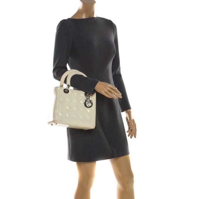 Dior White Patent Leather Medium Lady Dior Tote In Good Condition In Dubai, Al Qouz 2