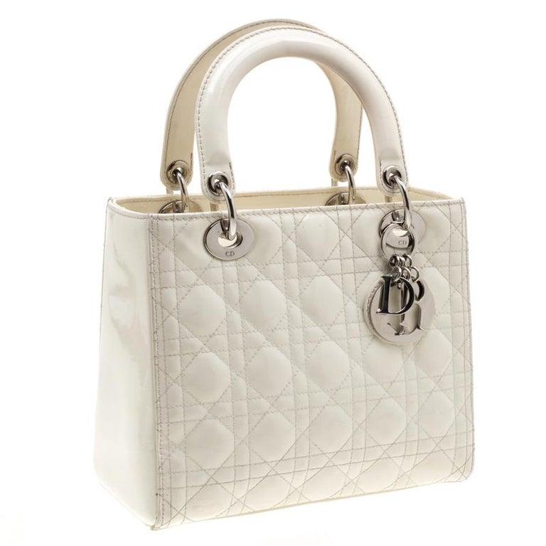 Women's Dior White Patent Leather Medium Lady Dior Tote