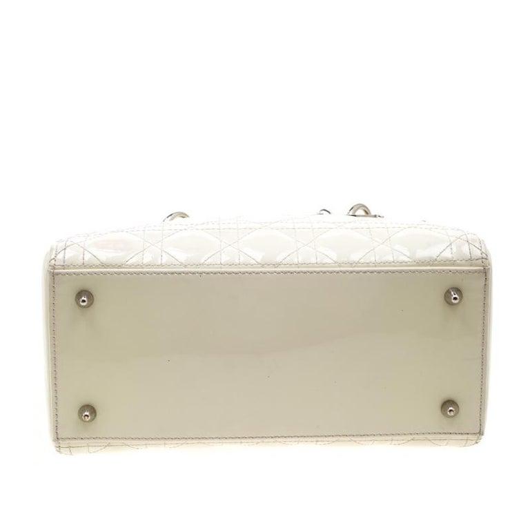 Dior White Patent Leather Medium Lady Dior Tote 1