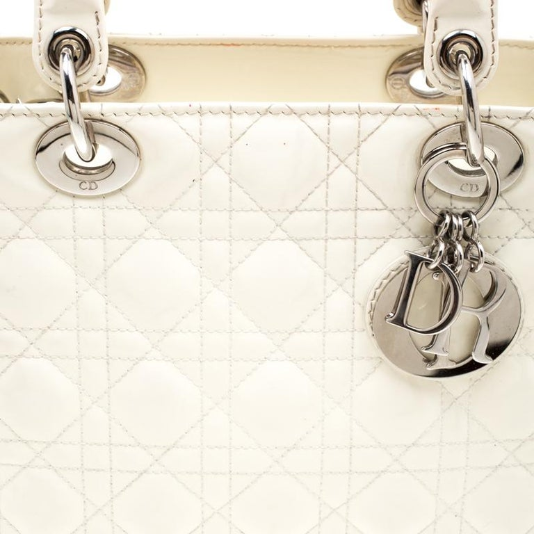 Dior White Patent Leather Medium Lady Dior Tote 2