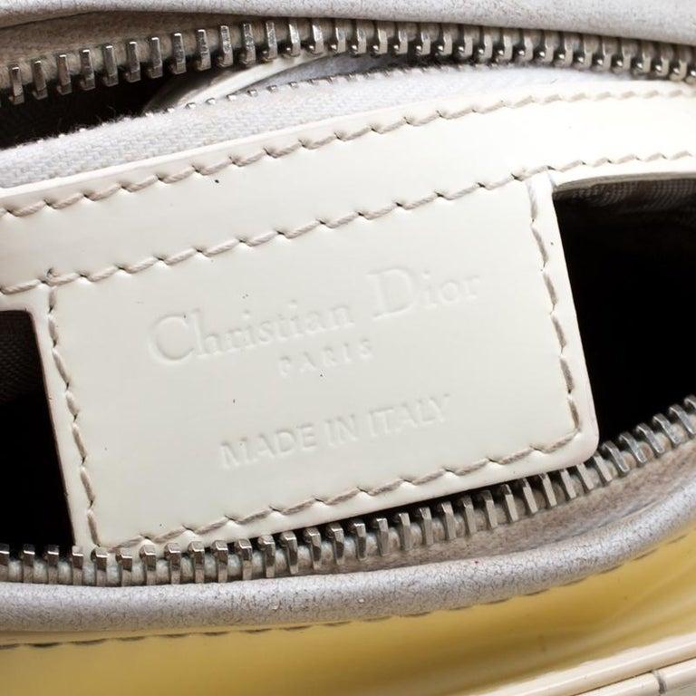 Dior White Patent Leather Medium Lady Dior Tote 4