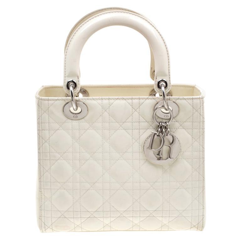 Dior White Patent Leather Medium Lady Dior Tote