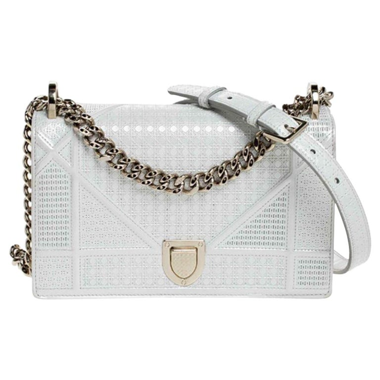 Dior White Patent Leather Small Diorama Flap Shoulder Bag For Sale