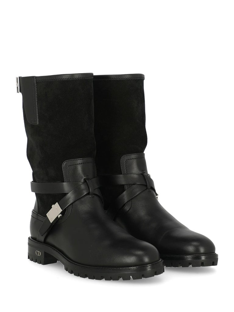 Dior Woman Ankle boots Black Leather IT 35.5 For Sale 2