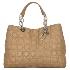 Dior Women Handbags Lady Dior Beige Leather