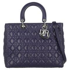 Dior  Women Handbags Lady Dior Purple Leather