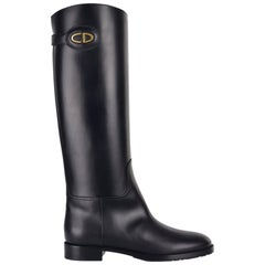 Dior Women's Black Leather Diorable Knee High Boots