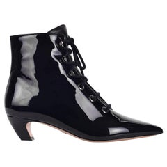 Dior Women's I-Dior Black Patent Leather Lace Up Boots