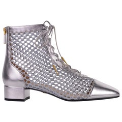 Dior Women's Naughtily-D Silver Laminated Leather Mesh Ankle Boots