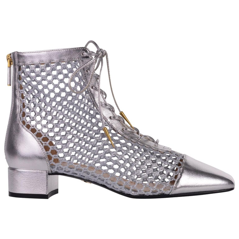 Dior Womens Naughtily D Silver Laminated Leather Mesh Ankle Boots