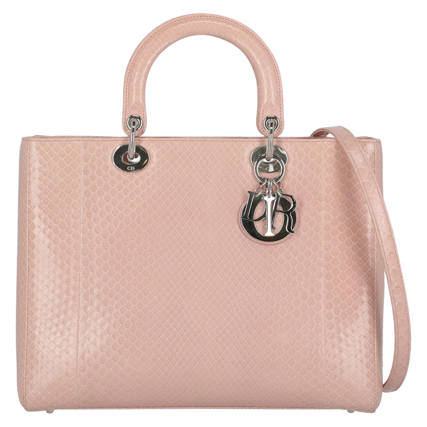 Dior Women's Shoulder Bag Lady Dior Pink Leather