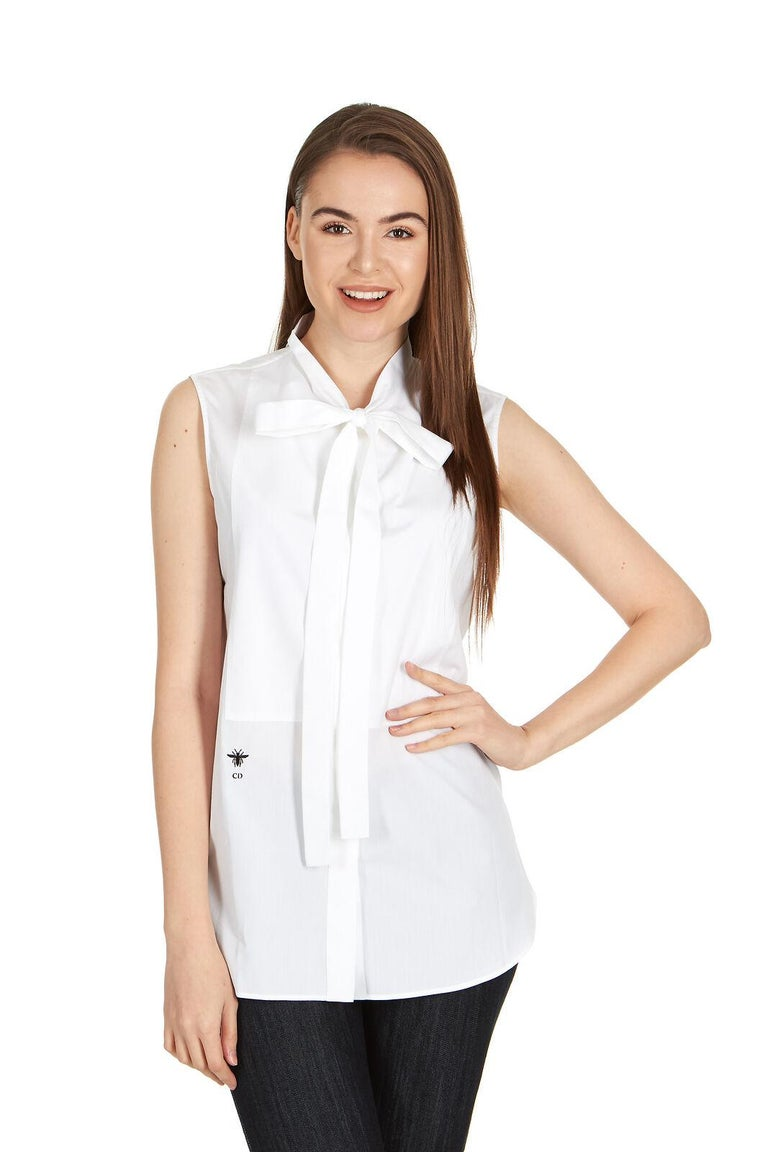 a4ac76dc929408 Dior Women s White Cotton Neck Tied Front Sleeveless Blouse For Sale ...