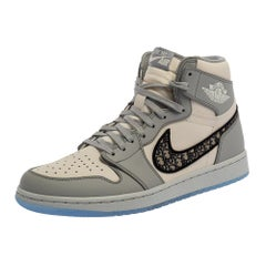 Dior x Jordan Grey/White Leather Air Jordan 1 High Top Sneakers Size 42.5