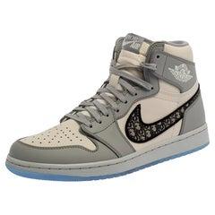 Dior x Jordan Grey/White Leather Air Jordan 1 High Top Sneakers Size 42.5