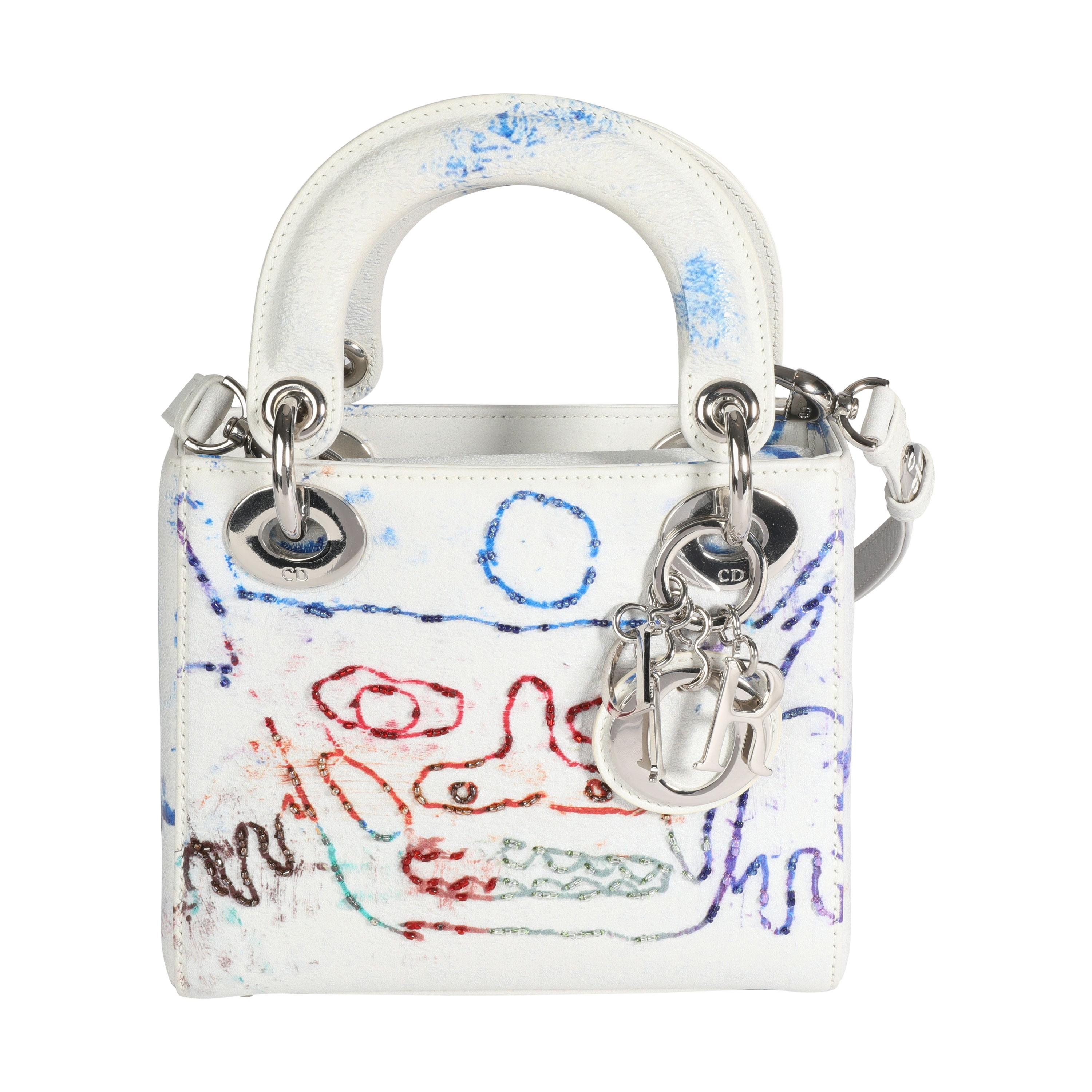 Dior X Spencer Sweeney Limited Edition Multicolor Mini Lady Dior Bag