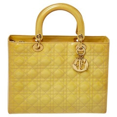 Dior Yellow Cannage Patent Leather Large Lady Dior Tote