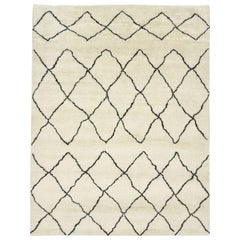 Dipa, Bohemian Shaggy Moroccan Hand Knotted Area Rug, Parchment