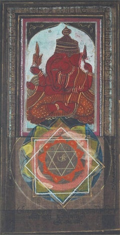 "Ganesha, God, Hand Made Pigments on Canvas, Red, Blue by Indian Artist""In Stock"""