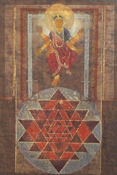 "Laxmi, Goddess, Hand Made Pigments on Canvas, Red by Indian Artist ""In Stock"""
