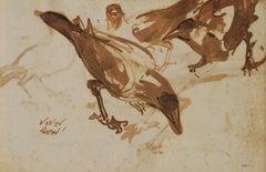 Rare Collectible ,set of 15 drawings, Indian Crows, Debi Prasad Roy Chowdhury