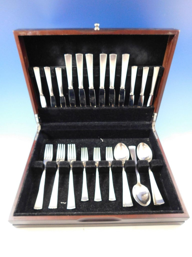 Exquisite Diplomat by C.G Hallberg (Swedish-Stockholm) Mid-Century Modern, circa 1956, 830 Silver Flatware set - 30 pieces. This set includes:  6 Knives, 8 1/2