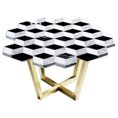 Diplopia Monochrome Coffee Table in Black Toros Marble, Silver Gray Marble