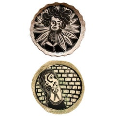 Diptych Inherent Light and Chin Up, Carved Porcelain Decorative Plates