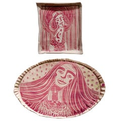 Diptych Madonna with Long Neck and Room in a Room, Carved Porcelain Plates