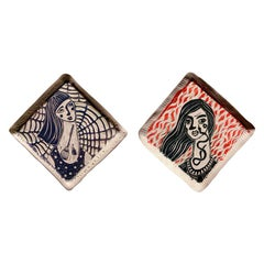Diptych: Optional Omniscience and Snake Got Your Tongue, Carved Porcelain Plates