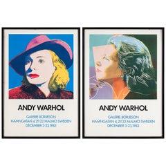 Diptych Portrait of Ingrid Bergman, Original Posters of Andy Warhol Exhibition