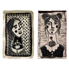 Diptych Supporting Perspective and Curled Girl, Carved Porcelain Plates
